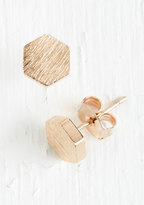 Fame Accessories Since You Been Hexagon Earrings in Rose Gold
