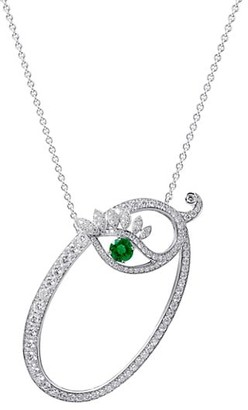 Tabayer Eye 18K White Gold, Emerald & Diamond Optimistic Pendant Necklace