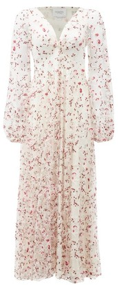 Giambattista Valli Floral-embroidered Tulle Midi Dress - Ivory
