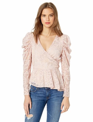ASTR the Label Women's Icon Lace Puff Long Sleeve Wrap Top