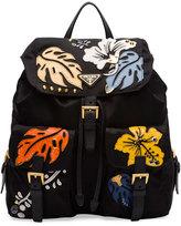 Prada Hawaiian Double-Pocket Backpack, Black (Nero)