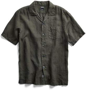 Todd Snyder Short Sleeve Linen Camp Collar Shirt in Olive