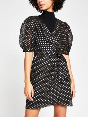 River Island Lurex Gold Spot Wrap Mini Dress - Black