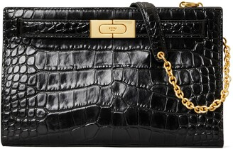 Tory Burch Lee Radziwill Croc Embossed Leather Shoulder Bag