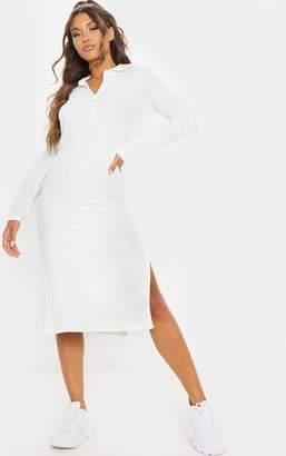 PrettyLittleThing Grey Brushed Rib Polo Neck Long Sleeve Split Hem Midi Dress