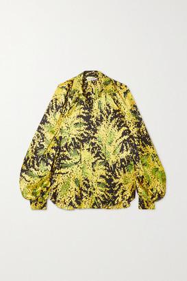 Balenciaga Pleated Floral-print Silk-jacquard Blouse - Yellow