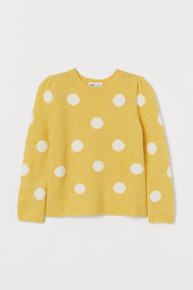 H&M Puff-sleeved Sweater - Yellow