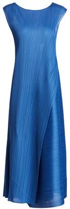 Pleats Please Issey Miyake Diagonal Pleats Sleeveless Midi Dress