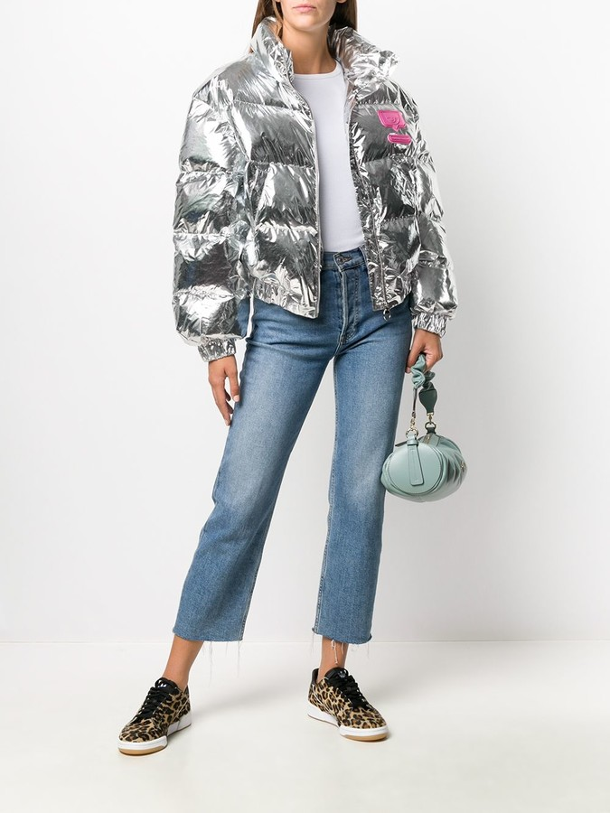 Thumbnail for your product : Chiara Ferragni Cropped Metallic Effect Puffer Jacket