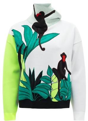 Valentino Jungle-applique Embroidered Knit Sweater - Womens - White Multi