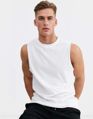 New Look sleeveless t-shirt in white