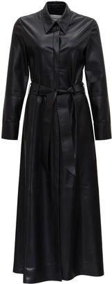 Nanushka Long Faux Leather Dress With Belt