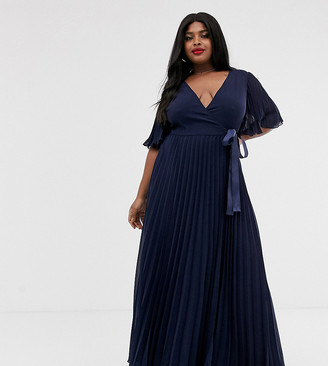 Asos DESIGN Curve exclusive maxi dress with kimono sleeve and tie waist in pleat-Multi