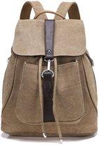 Greeniris Teenage Girls Causal Canvas School Backpack Travel Drawstring Vintage Backpack for Women