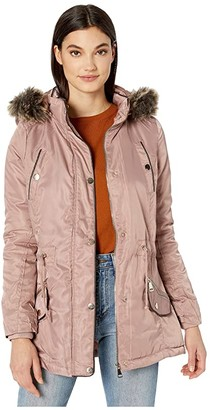 YMI Jeanswear Snobbish Faux Fur Lined Parka with Faux Fur Trim Hood (Mauve) Women's Clothing