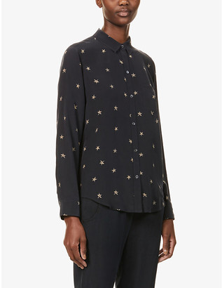 Rails Kate star-print silk-crepe shirt