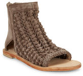 Free People Island Cruiser Textured Leather Open Toe Booties