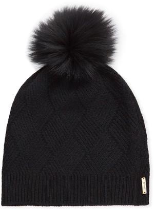 Gorski Diamond Knit Cashmere Beanie Hat w/ Fur Pompom