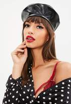 Missguided Black Faux Leather Beret