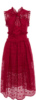 Oscar de la Renta Red Eyelet Cotton Cross Front Dress