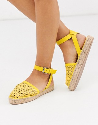 ASOS DESIGN Junction woven espadrille flat sandals in yellow