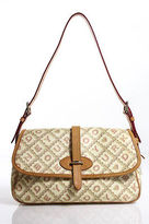 Dooney & Bourke Beige Monogram Coated Canvas Single strap Satchel Handbag