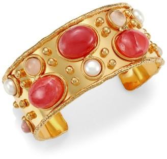 Sylvia Toledano Byzance 22K Goldplated, Cultured Pearl & Rodochrosite Cuff