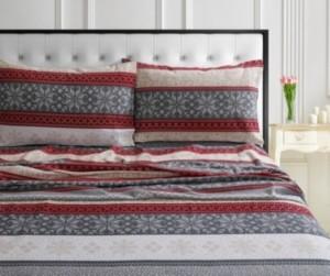 Tribeca Living Holiday Print Flannel Extra Deep Pocket King Sheet Set Bedding