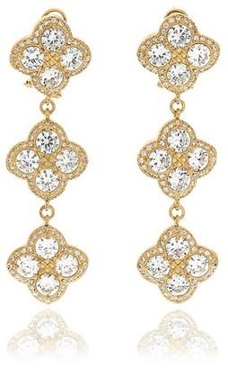 Georgina Jewelry Gold Chandelier Diamond Flower Long Earrings