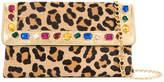 Casadei crystal-embellished leopard print clutch bag