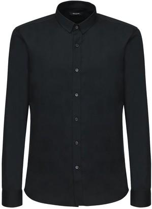 Balmain Logo Embroidery Cotton Poplin Shirt