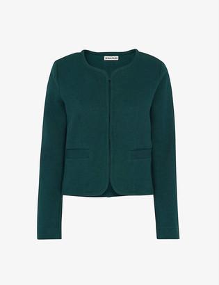 Whistles Collarless cotton-jersey jacket