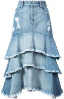 Jonathan Simkhai ruffled denim skirt