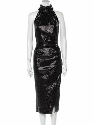 Rachel Zoe Mock Neck Long Dress Black