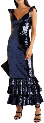 Monique Lhuillier Tiered Sequined Mesh Gown