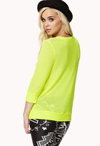 Forever 21 Micro-Stripe Open-Knit Sweater