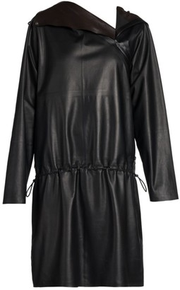 Bottega Veneta Hooded Faux Leather Drawstring Dress