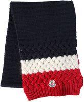 Moncler Tricolor Logo Wool Alpaca Scarf