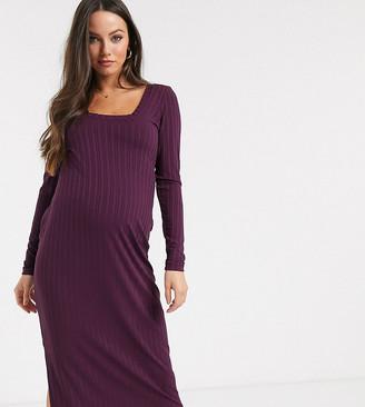 Asos DESIGN Maternity long sleeve square neck rib midi dress