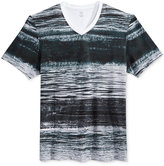 INC International Concepts Men's Waves Graphic-Print Stripe V-Neck T-Shirt, Only at Macy's
