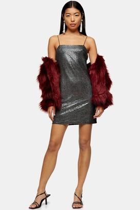 Topshop Womens Black Snake Foil Bodycon Dress - Black