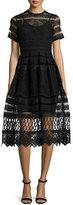 Alexis Alanna Short-Sleeve Lace Midi Dress, Black