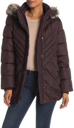 London Fog Faux Fur Trim Hooded Zip Front Puffer Jacket