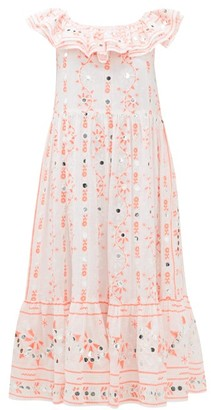 Juliet Dunn Nomad Off-the-shoulder Mirror-work Cotton Dress - Red White