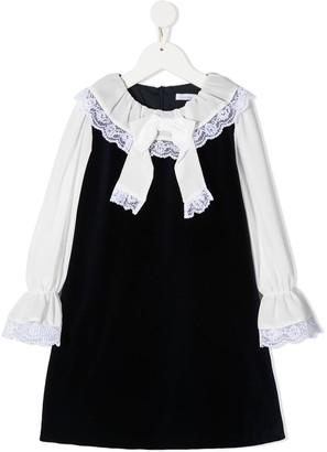 Patachou Ruffle-Trim Two-Tone Dress