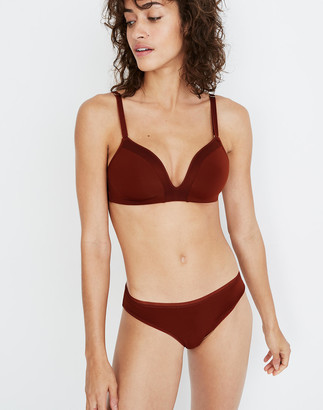 Madewell x Lively Mesh-Trim No-Wire Bra in Burnished Mahogany