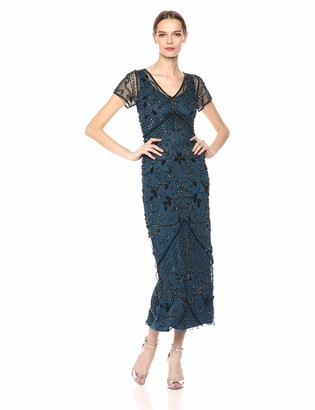 Pisarro Nights Women's Long Beaded Dress with Cap Sleeve and Illusion v-Neck