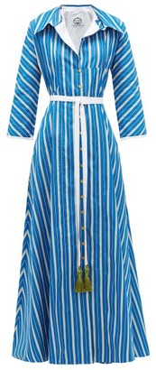 Evi Grintela Ben Youssef Striped Cotton Shirt Dress - Blue White