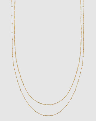 Elli Jewelry Necklace Basic Double Chain in 925 Sterling Silver Gold Plated