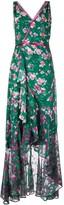 Marchesa Long Floral Wrap Dress
